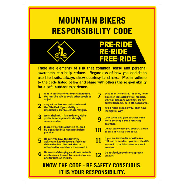 Mountain Bikers Responsibility Code